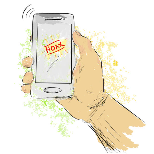 sketch illustration for hoax or fake news, water color effect, isolated on white - hand holding phone stock illustrations