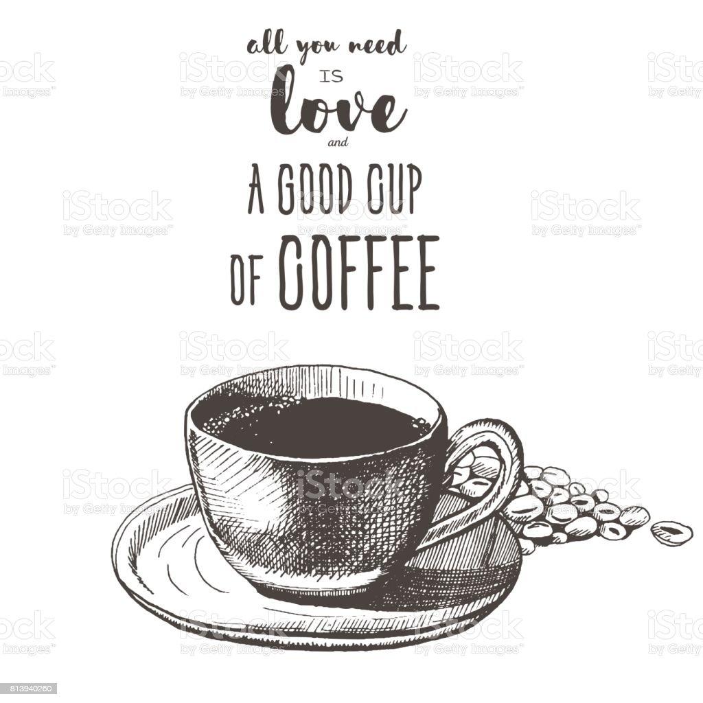 Beispiel Für Eine Kaffeetasse Und Kaffeebohnen Zu Skizzieren In