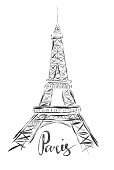 Sketch illustration of Eiffel Tower on white background and word Paris