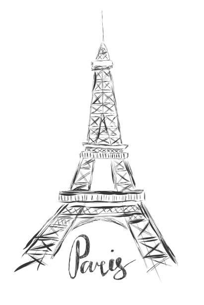 ilustrações, clipart, desenhos animados e ícones de esboçar a ilustração da torre eiffel em fundo branco e mão escrever palavra paris - moda parisiense