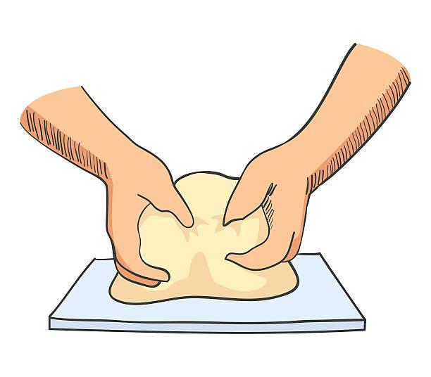 illustrazioni stock, clip art, cartoni animati e icone di tendenza di schizzo illustrazione di mani di impastamento pasta - impastare