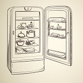 Sketch illustration of retro refrigerator with groceries on background in sepia style