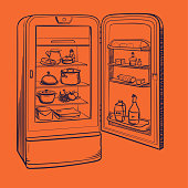 Sketch illustration of retro refrigerator with groceries on a red background