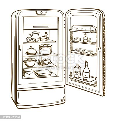 istock Sketch illustration of retro refrigerator with groceries 1288332264