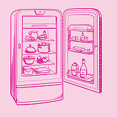 Sketch illustration of retro refrigerator with groceries on a pink background
