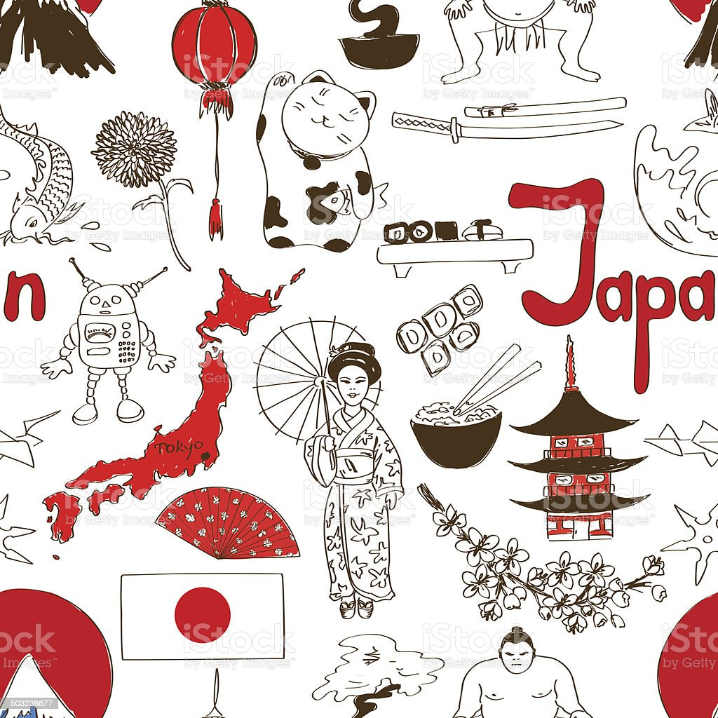 Sketch Japan seamless pattern vector art illustration