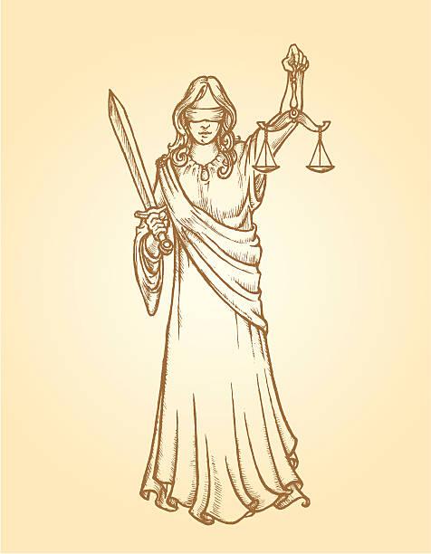 bildbanksillustrationer, clip art samt tecknat material och ikoner med sketch justice symbol - blindfolded sketch