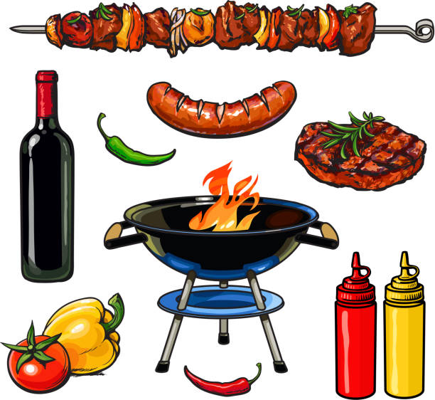 skizze-kebab fleisch und würstchen-steak mit soße - roastbeef stock-grafiken, -clipart, -cartoons und -symbole