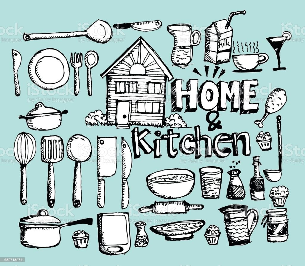 Sketch Kitchen Elements Doodle Stock Vector Art & More Images of ...