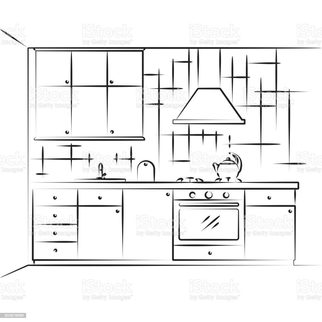 Ilustración de Croquis De Muebles De Cocina Cocina Americana ...