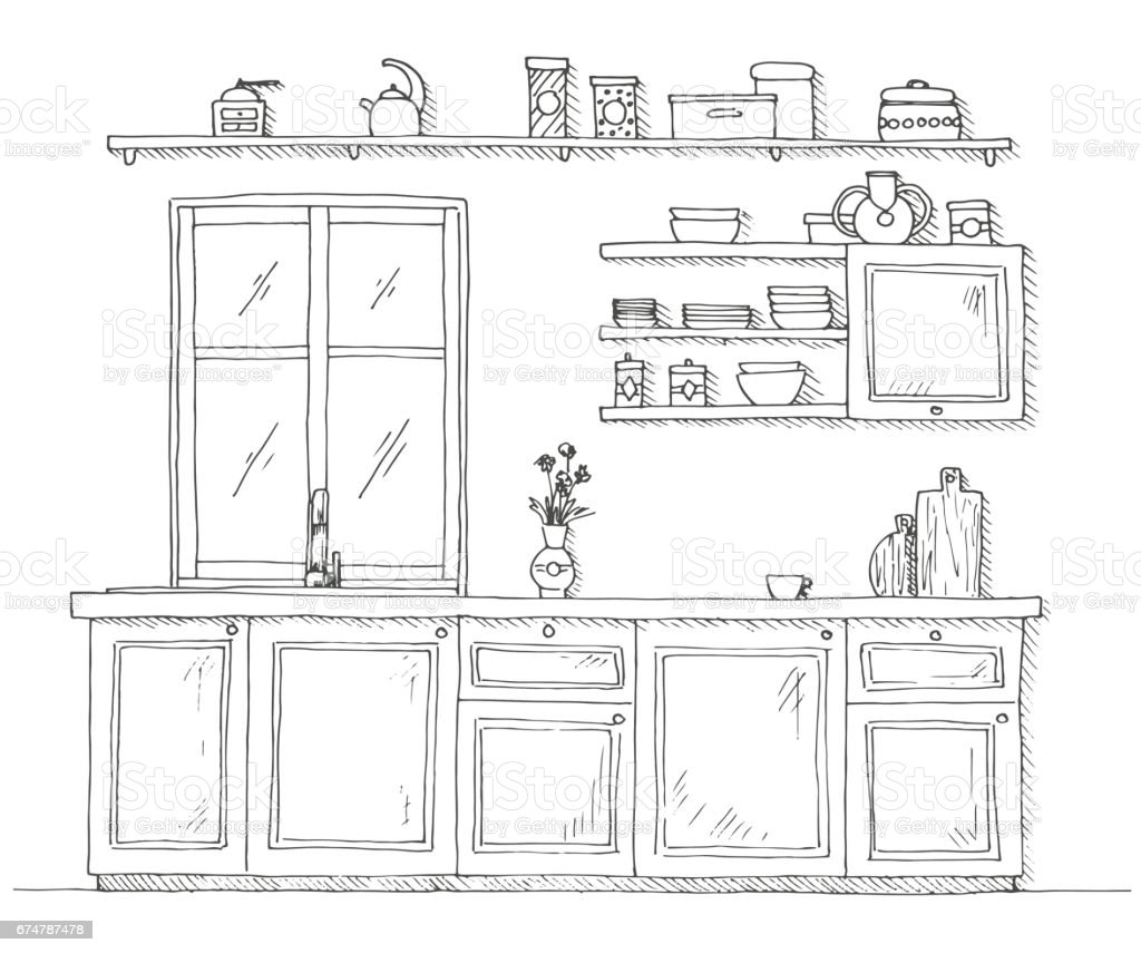 The Kitchen Sink Art Drawing Sketch Sketchbook By: Sketch Kitchen With A Window Vector Illustration In A