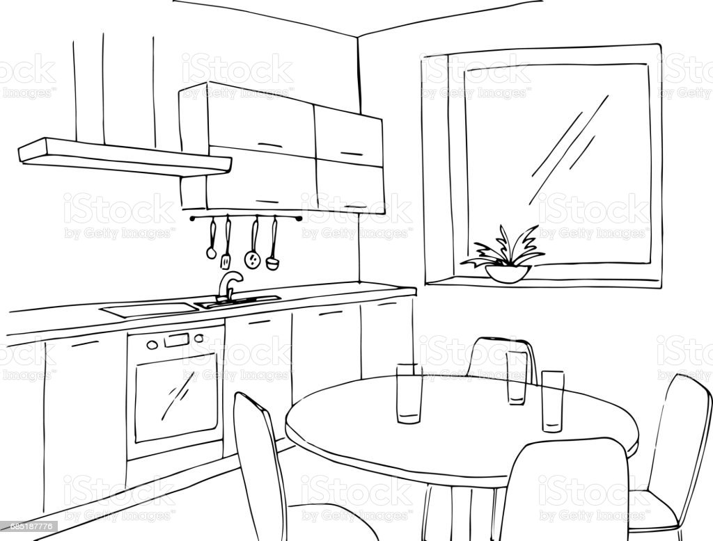 Cocina De Bosquejo Con Una Ventana. Ilustración De Vector De Un Estilo De  Dibujo.