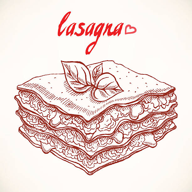 sketch lasagna vector art illustration