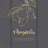 Floral background. Hand drawn vector botanical illustration. Template greeting card, wedding invitation banner with spring flowers. Sketch linear magnolia blossom. Engraved style illustration.