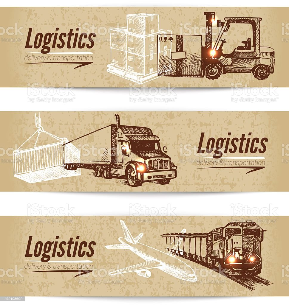 Sketch logistics and delivery banner set. Cardboard backgrounds. vector art illustration