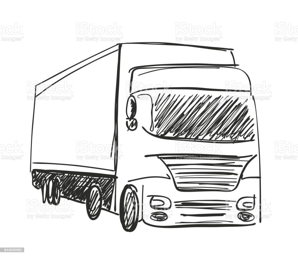 Sketch Logistics And Delivery Poster Truck Stock Vector Art & More ...