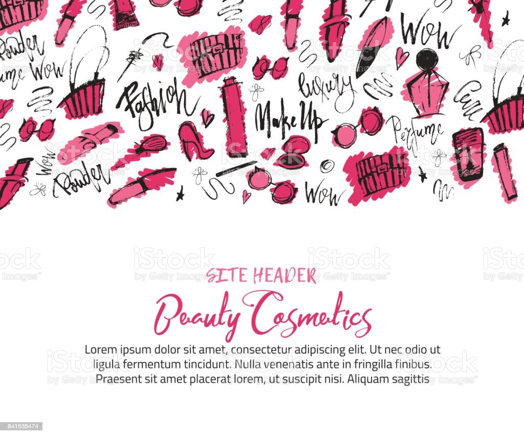 Sketch makeUp site header Banner with grunge cosmetics lipstick, mascara, brush for promotion vector art illustration