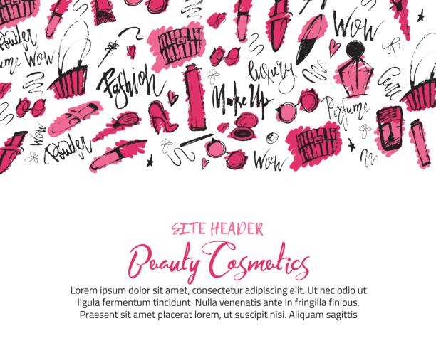 Sketch makeUp site header Banner with grunge cosmetics lipstick, mascara, brush for promotion vector art illustration