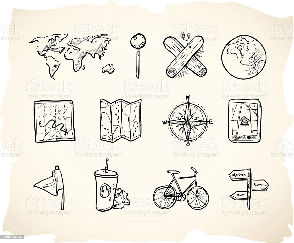 Sketch Map Icons royalty-free stock vector art