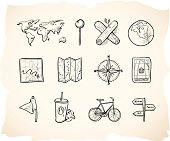 Sketchy hand drawn icons for map.