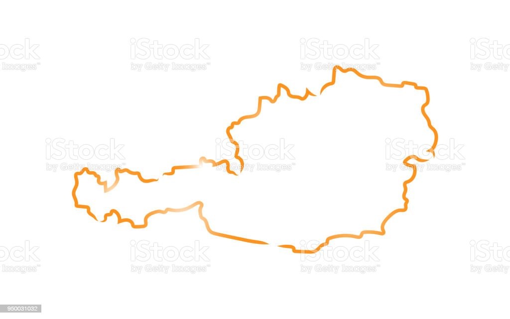 Sketch map of Austria vector art illustration