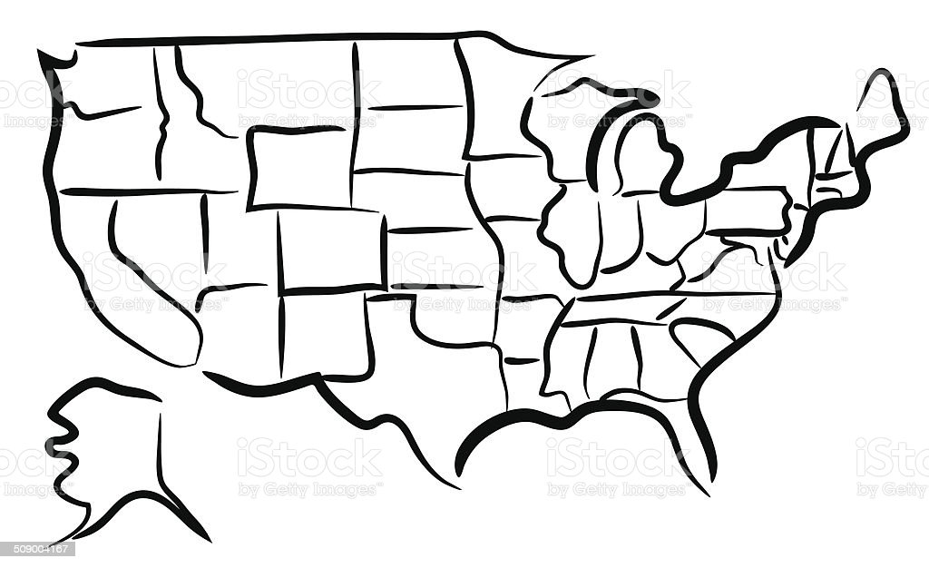 Usa Sketch Map Stock Vector Art IStock - Us map sketch