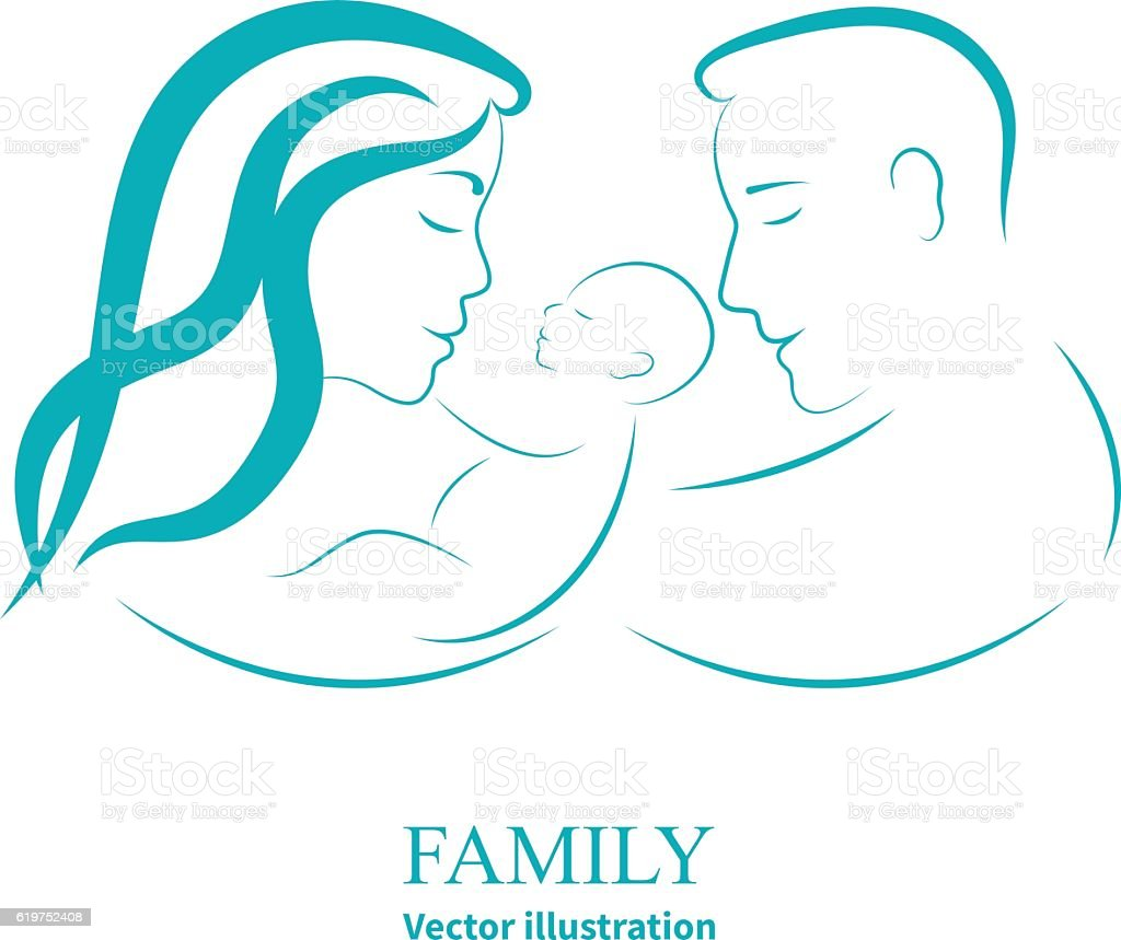 Sketch mom and dad holding a small child vector art illustration