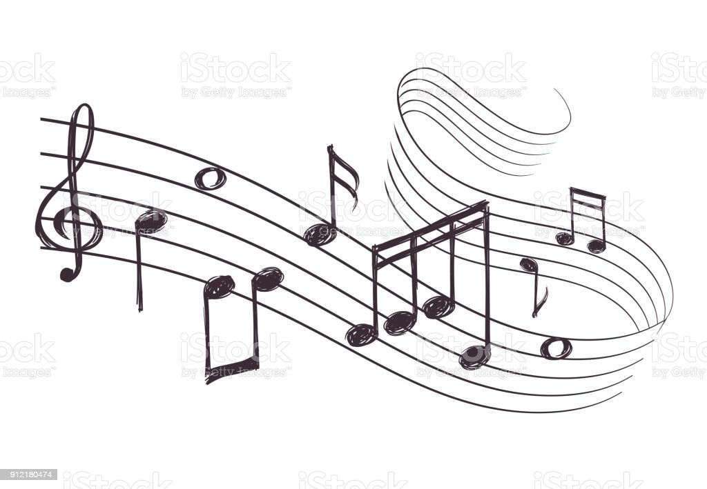 Sketch musical sound wave with music notes. Hand drawn vector illustration - arte vettoriale royalty-free di Ambiente