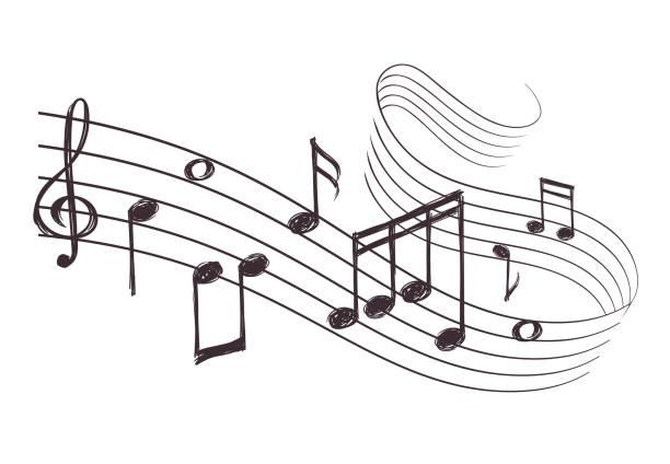 szkic muzycznej fali dźwiękowej z nutami muzycznymi. ilustracja wektora rysowana ręcznie - muzyka stock illustrations