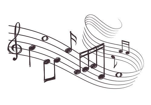 Sketch Musical Sound Wave With Music Notes Hand Drawn Vector Illustration - Immagini vettoriali stock e altre immagini di Ambiente