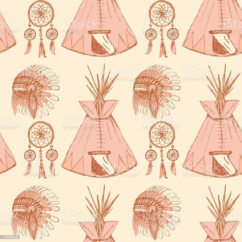 Sketch native americans symbols in vintage style stock vector art sketch native americans symbols in vintage style royalty free stock vector art buycottarizona Gallery