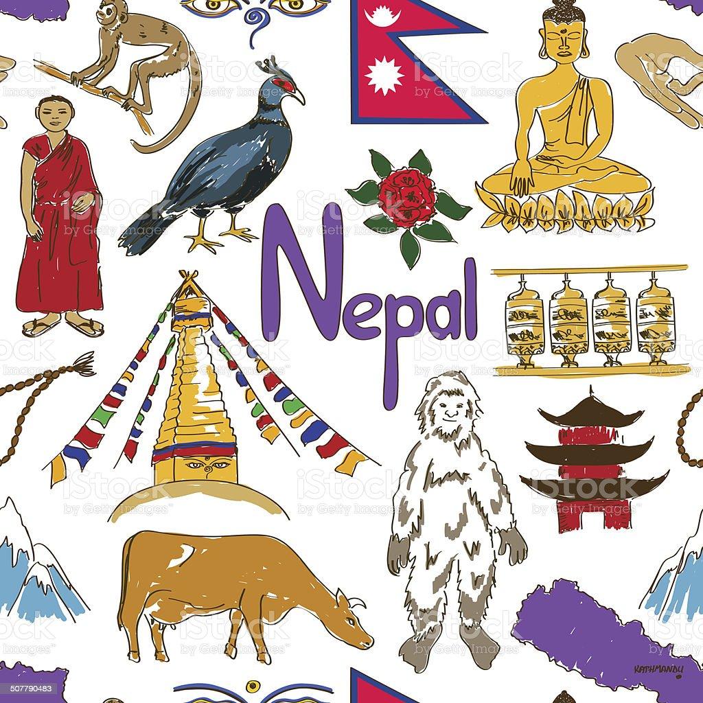 Sketch Nepal seamless pattern vector art illustration