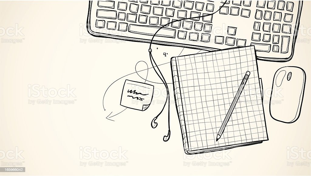 Notebook And Pen Sketch Stock Vector Art More Images Of: Sketch Notebook Drawing Stock Vector Art & More Images Of