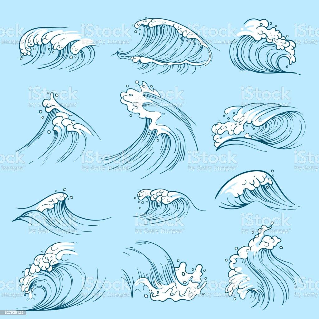 Sketch ocean waves hand drawn marine vector tides stock vector art hand drawn marine vector tides royalty free sketch ocean waves hand biocorpaavc