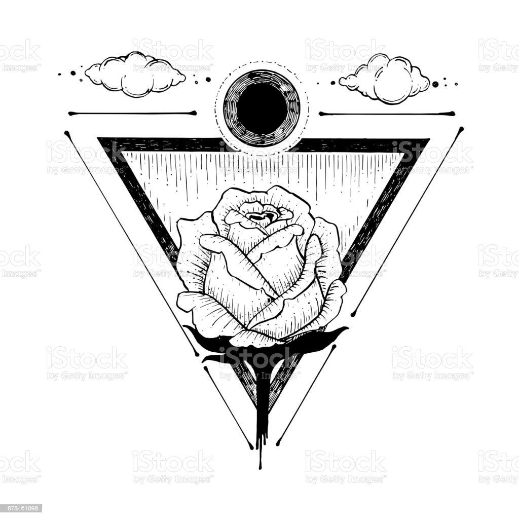 Esquisse Dune Belle Fleur Rose Et Triangle Sur Un Fond Blanc Main