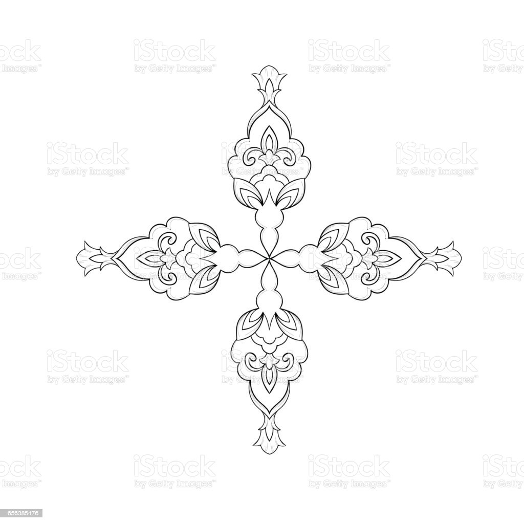 A sketch of a beautiful symmetrical pattern on a white background. vector art illustration