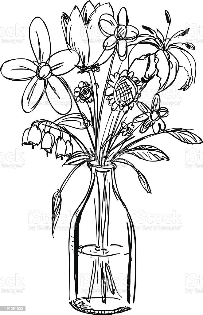 Flower Bouquet Line Drawing : Sketch of a bouquet flowers in waterfilled vase stock