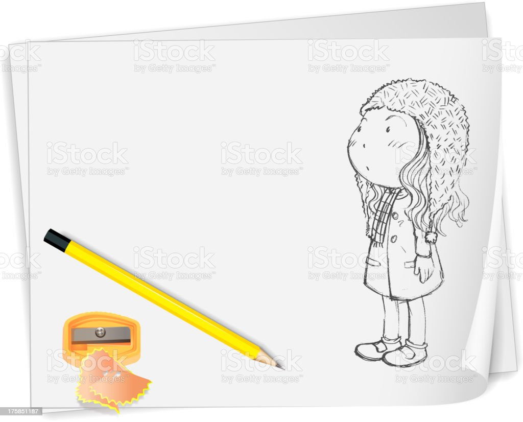 Sketch of a boy holding  toy royalty-free stock vector art