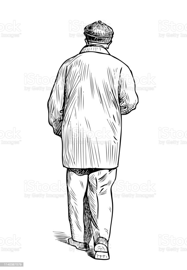 Sketch Of A Casual Elderly Man Going Down The Street Stock Illustration Download Image Now Istock