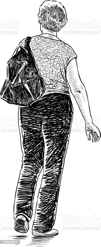 Sketch of a casual woman pedestrian vector art illustration