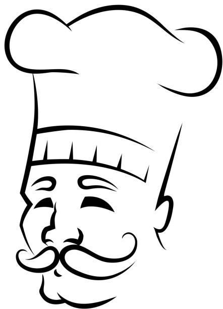 ilustraciones, imágenes clip art, dibujos animados e iconos de stock de boceto de un chef con bigote - busy restaurant kitchen