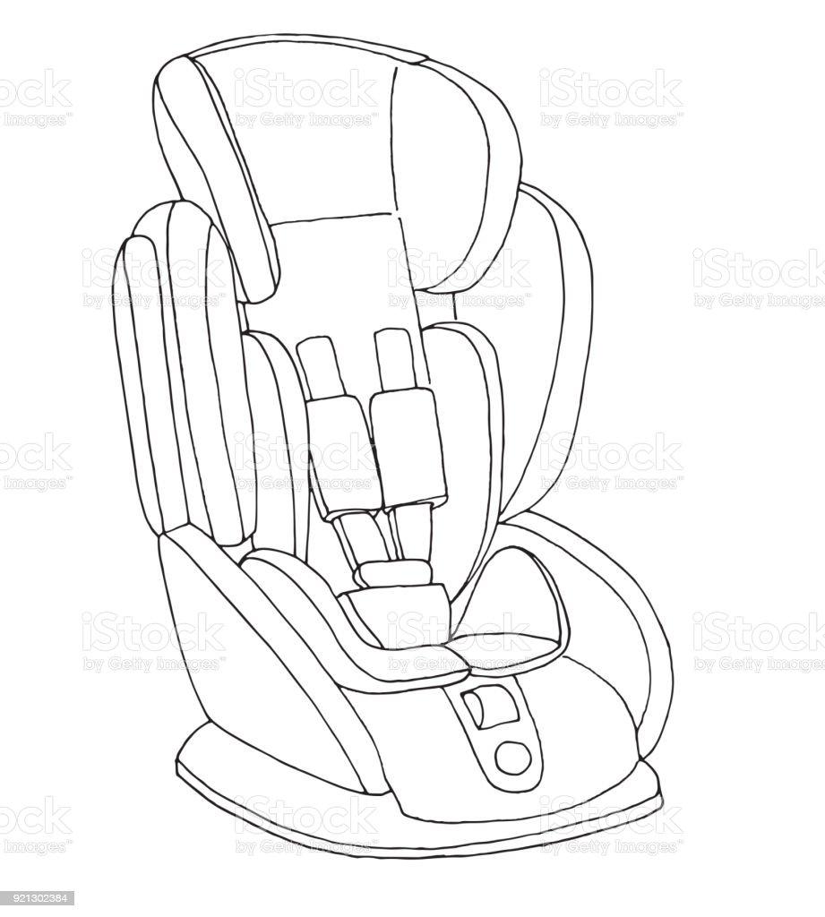 Skizze Von Einem Kindersitz Kindersicherheit Vektorillustration ...
