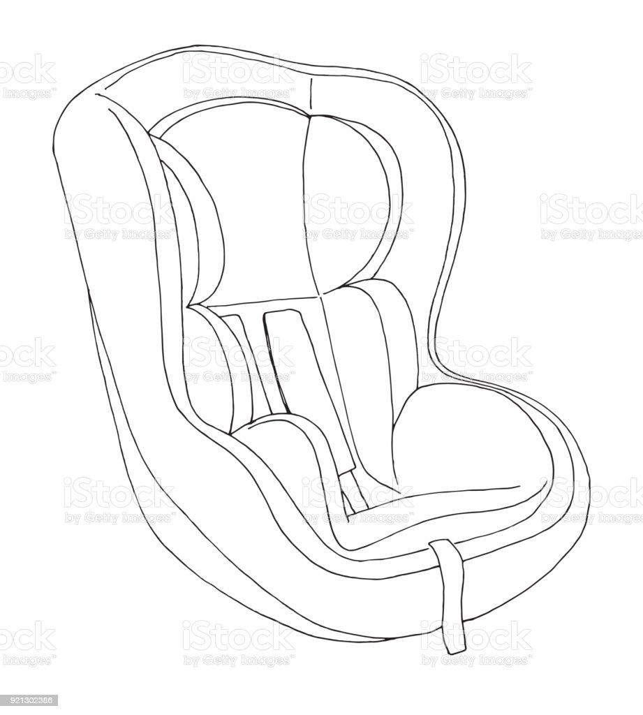 Sketch of a children's car seat. Child safety. Vector illustration vector art illustration