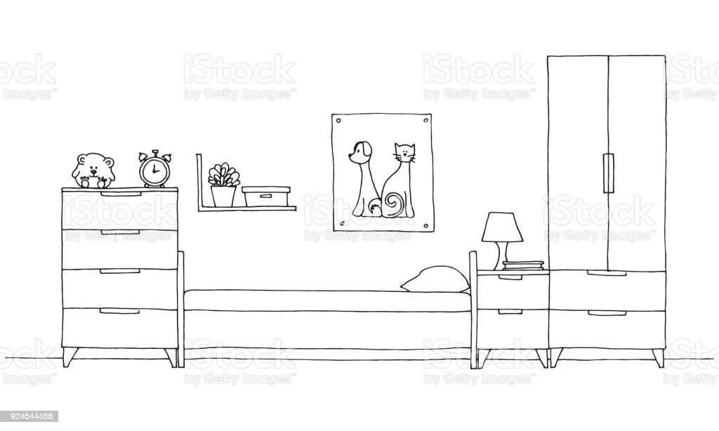 Jugendzimmer Vektor Illustratio Lizenzfreies Skizze Fur Ein Kinderzimmer