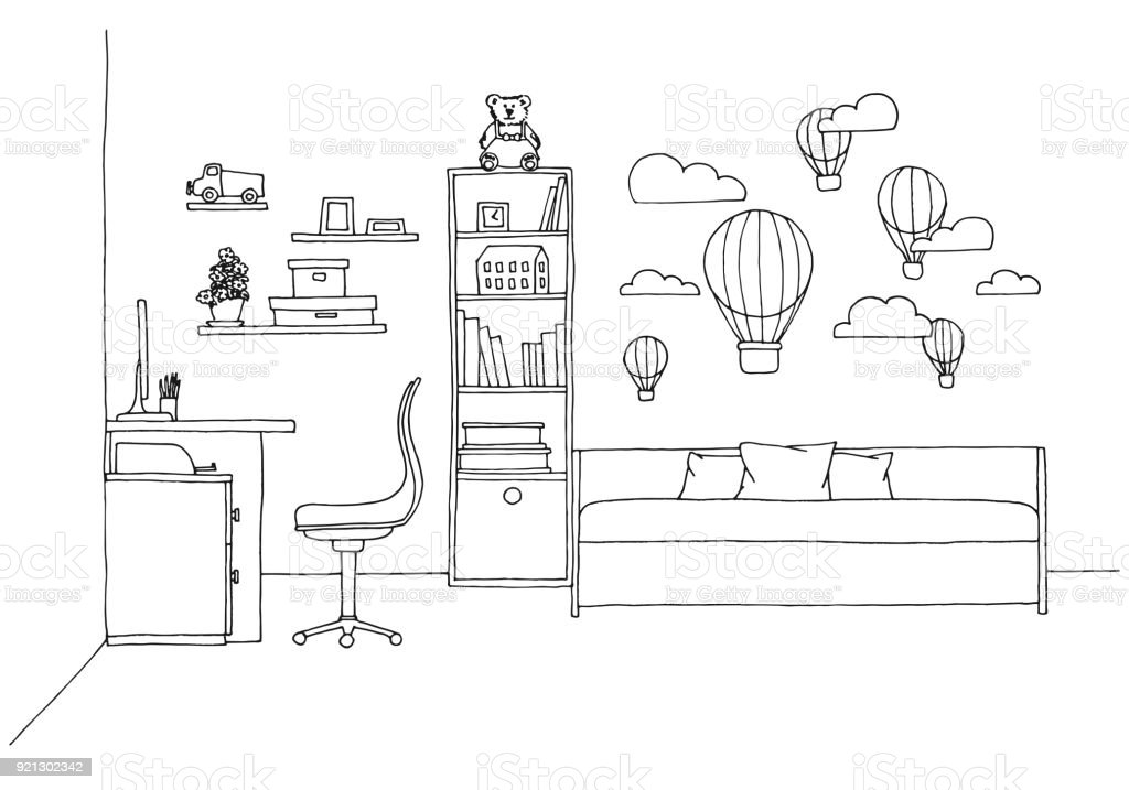 Jugendzimmer Vektor Illustration Lizenzfreies Skizze Fur Ein Kinderzimmer