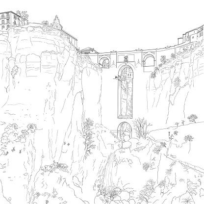 Sketch of a city ston bridge