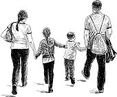 Hand drawing of a family of townspeople walking down the street.