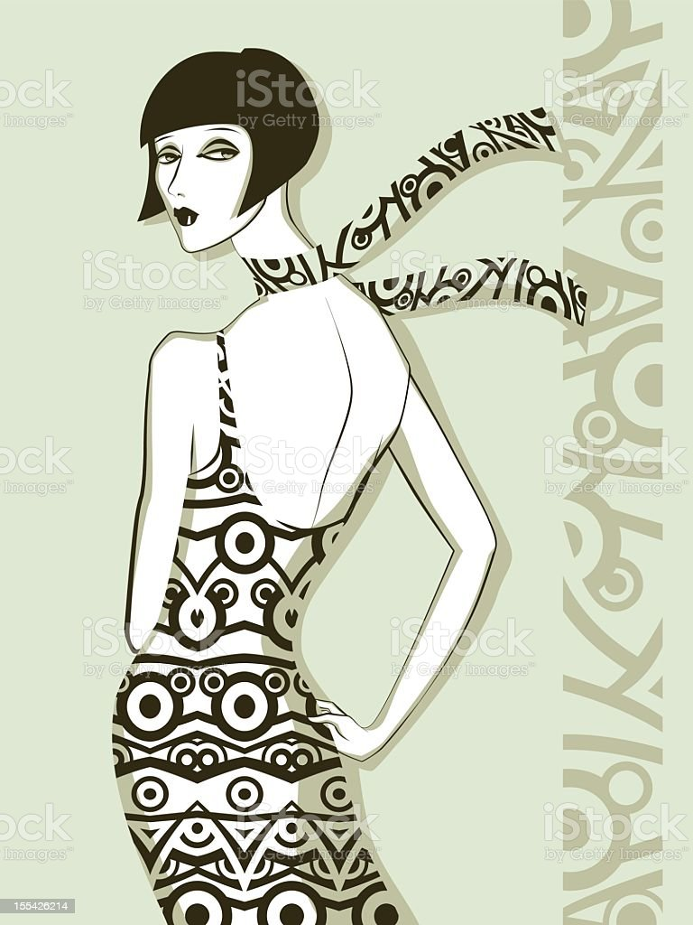 Sketch of a fashionable woman with a scarf royalty-free stock vector art