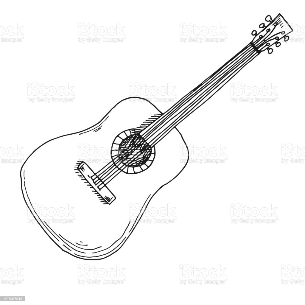 Sketch Of A Guitar Vector Illustration Acoustic Guitar Isolated On