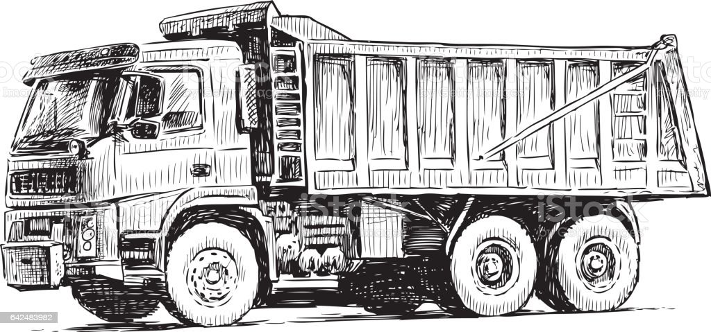 Sketch Of A Heavy Truck Stock Vector Art & More Images of Business ...